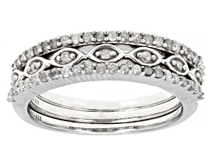 White Diamond Rhodium Over Sterling Silver Set Of 3 Stackable Band Rings 0.45ctw