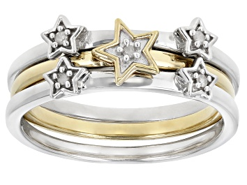 Picture of White Diamond Accent Rhodium And 14k Yellow Gold Over Sterling Silver Set Of 3 Celestial Rings