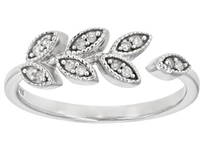 White Diamond Rhodium Over Sterling Silver Leaf Ring 0.10ctw