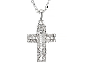 White Diamond Rhodium Over Sterling Silver Cross Pendant And Chain 0.25ctw