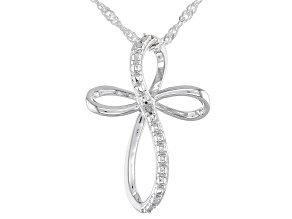 "White Diamond Accent Rhodium Over Sterling Silver Cross Pendant And 18"" Singapore Chain"