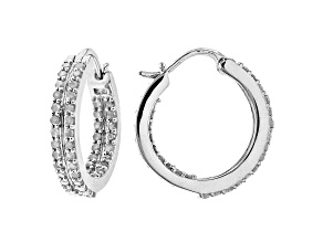 White Diamond Rhodium Over Sterling Silver Inside-Out Hoop Earrings 1.00ctw