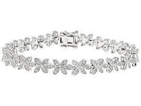 White Diamond Rhodium Over Sterling Silver Floral Tennis Bracelet 0.30ctw
