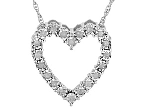 "White Diamond Rhodium Over Sterling Silver Heart Pendant With 18"" Rope Chain 0.10ctw"