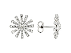 White Diamond Rhodium Over Sterling Silver Floral Inspired Cluster Earrings 0.15ctw