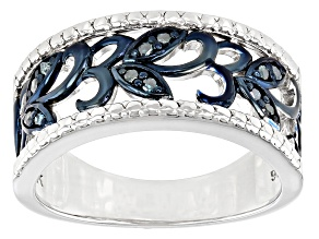 Blue Diamond Rhodium Over Sterling Silver Floral Wide Band Ring 0.10ctw
