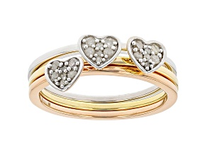 White Diamond Rhodium And 14K Yellow And Rose Gold Over Sterling Silver Stackable Rings 0.15ctw