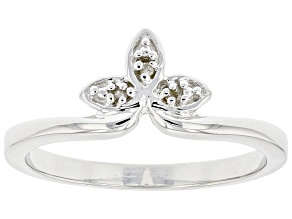 White Diamond Accent Rhodium Over Sterling Silver Floral Inspired Band Ring