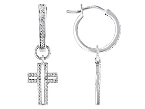 White Diamond Accent Rhodium Over Sterling Silver Cross Charm Hoop Earrings