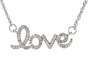 White Diamond Rhodium Over Sterling Silver Love Necklace 0.20ctw