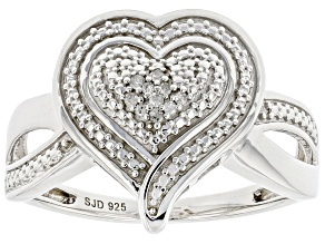 White Diamond Accent Rhodium Over Sterling Silver Cluster Heart Ring