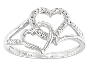 White Diamond Accent Rhodium Over Sterling Silver Double Heart Ring