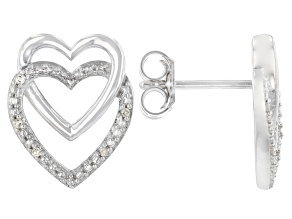 White Diamond Accent Rhodium Over Sterling Silver Double Heart Earrings