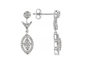White Diamond Rhodium Over Sterling Silver Dangle Earrings 0.50ctw