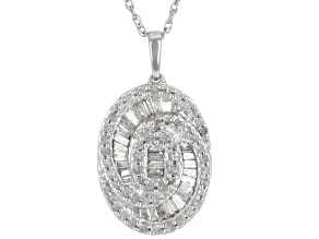 """White Diamond Rhodium Over Sterling Silver Cluster Pendant With 18"""" Rope Chain 0.75ctw"""