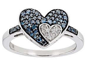 Blue And White Diamond Rhodium Over Sterling Silver Cluster Double Heart Ring 0.35ctw
