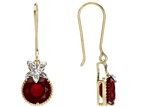 Mahaleo Ruby White Diamond 10k Yellow Gold Earrings 5ctw