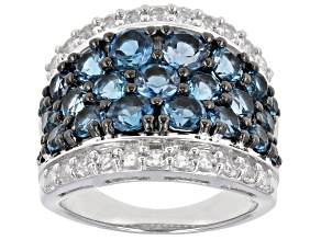 London Blue Topaz Sterling Silver Ring 5.40ctw