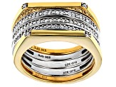 White Diamond Rhodium And 14K Yellow Gold Over Sterling Silver Ring  Set of 5 0.20ctw