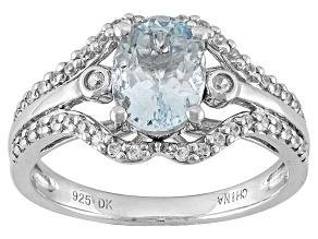 Blue Aquamarine Sterling Silver Ring 1.22ctw