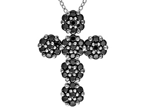 Black Spinel Sterling Silver Cross Pendant With Chain 1.68ctw
