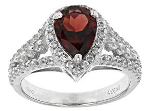 Red Garnet Sterling Silver Ring 2.38ctw
