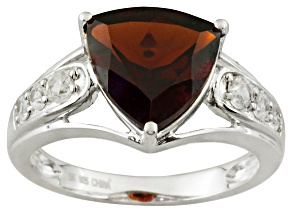 Red Garnet And White Zircon Sterling Silver Ring 3.02ctw