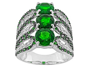 Green Russian Chrome Diopside Sterling Silver Ring 4.93ctw