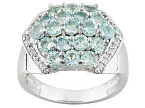 Blue Aquamarine Sterling Silver Ring 2.52ctw