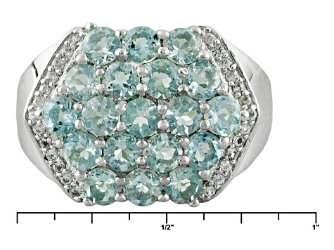 Blue Aquamarine Sterling Silver Ring 2.52ctw