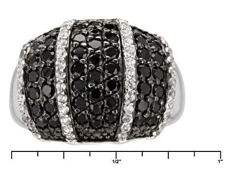 Black Spinel Sterling Silver Ring 2.30ctw