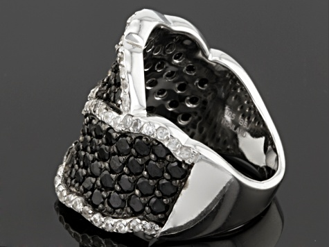 Black Spinel Sterling Silver Ring 2.34ctw