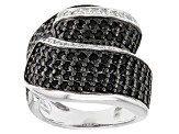 Black Spinel And White Zircon Sterling Silver Ring 1.39ctw