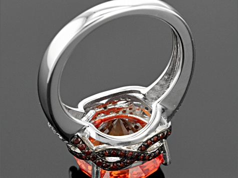 Orange Lab Created Padparadscha Sapphire, Garnet And White Zircon Silver Ring 10.06ctw