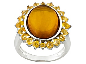 Orange Polish Amber And Citrine Sterling Silver Ring 1.09ctw