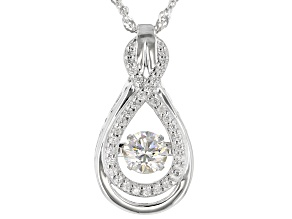 Dancing White Lab Strontium Titanate Rhodium Over Sterling Silver Pendant With Chain 1.32ctw