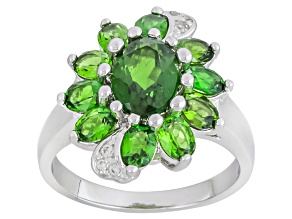 Green Russian Chrome Diopside And White Zircon Sterling Silver Ring 3.03ctw