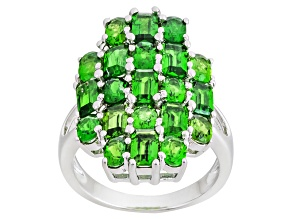 Green Russian Chrome Diopside Sterling Silver Ring 4.65ctw
