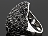 Black Spinel Sterling Silver Ring 7.07ctw