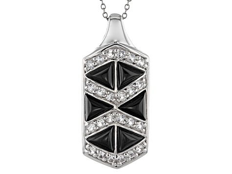 Black Onyx Sterling Silver Pendant With Chain .91ctw