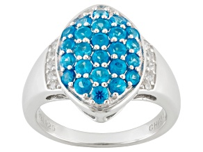 Blue Neon Apatite Sterling Silver Ring 1.32ctw
