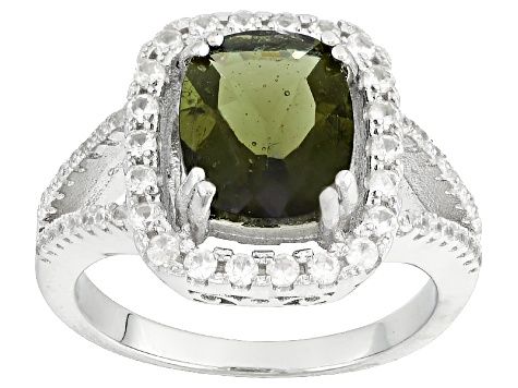 Green Moldavite Sterling Silver Ring 2.58ctw