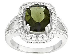 Green Moldavite Sterling Silver Ring 2.58ctw