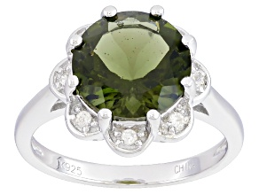 Green Moldavite Sterling Silver Ring 2.43ctw.