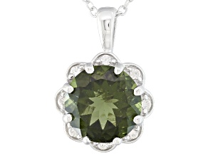 Green Moldavite Sterling Silver Pendant With Chain 2.43ctw