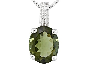 Green Moldavite Sterling Silver Pendant With Chain 1.56ctw
