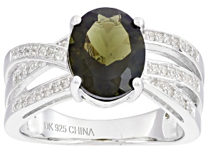 Green Moldavite Sterling Silver Ring 1.69ctw