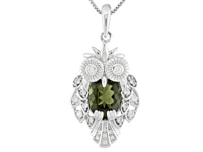 Green Moldavite Sterling Silver Owl Pendant With Chain 2.44ctw