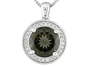Green Moldavite Sterling Silver Pendant With Chain 2.50ctw