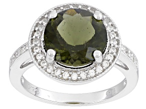 Green Moldavite Sterling Silver Ring 2.53ctw